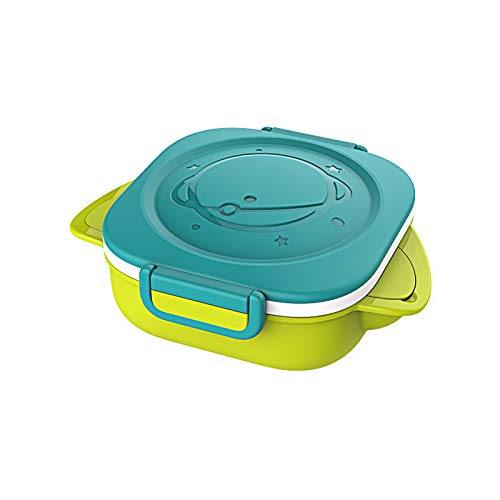 Yidata Kids Stainless Steel Bowl Baby Travel Dinnerware Water Injection Heat Preservation Feeding Plates Green