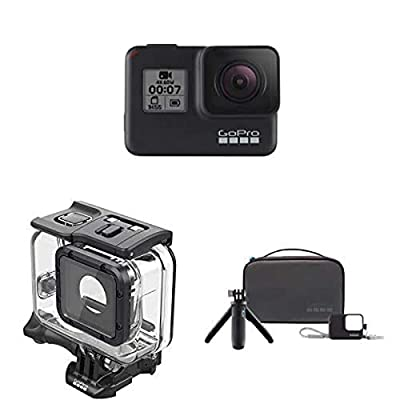 GoPro Hero7 Black Camera Bundle with Dive Suit and Travel Kit (Shorty Extension Pole, Sleeeve & Lanyard, Compact Case)