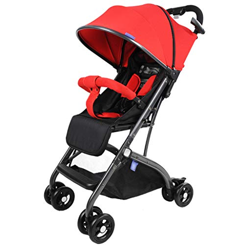 BLWX - Poussette bébé Haute Paysage Peut s'asseoir inclinable Parapluie Pliant léger Pliant Enfant Wagon léger Poussette (Couleur : Red)