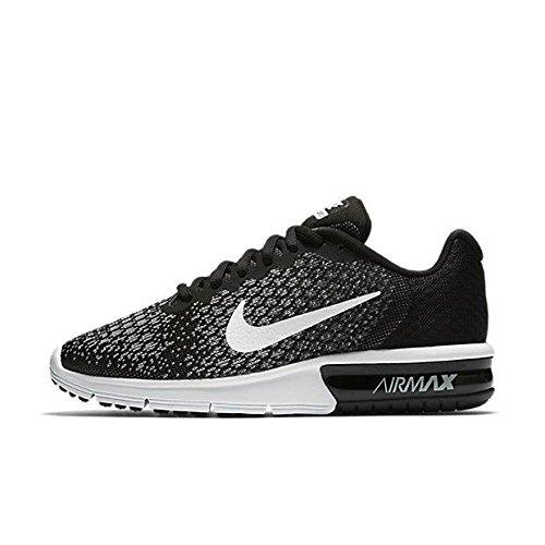 Nike Women's Air Max Sequent 2 Running Shoe Black/White/Dark Grey/Wolf Grey Size 6