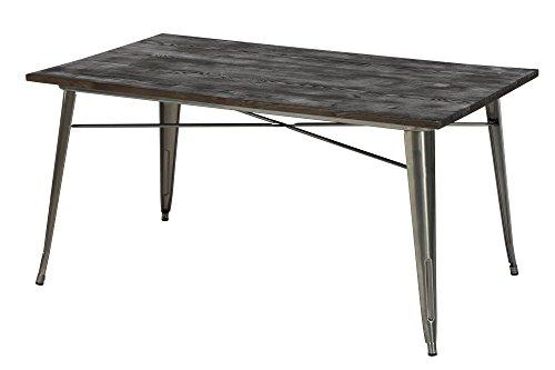 DHP Fusion Rectangular Dining Table, Antique Gun Metal/Wood