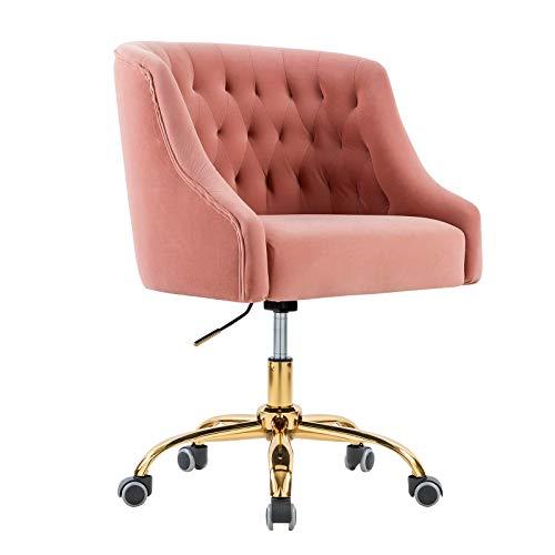 Computerstuhl/Drehstuhl/und goldenfarbigen Fußkreuz, drehbar, stufenlos höhenverstellbar,Bürostuhl Besucherstuhl Home-Office Stuhl Polsterfarbe perfekt für Mädchen und Office Lady