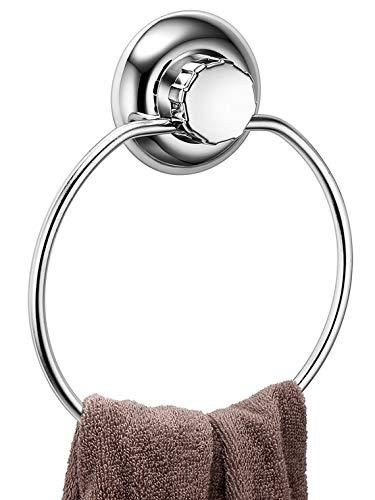 MaxHold Saugschraube Runder Handtuchring - Befestigen ohne Bohren – Edelstahl Rostfrei – Handtuchhalter für Küchen & Badezimmer Aufbewahrung