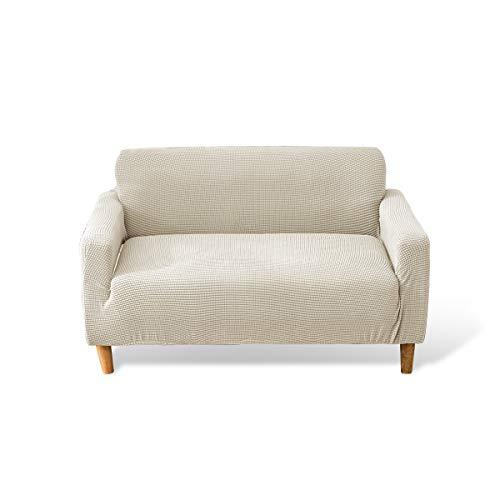 Fashion·LIFE 2 Plaza Funda de sofá Cubiertas de sofá Slipcover de sofá Protector de Muebles Resistencia al Deslizamiento Super Stretch Resistente al Desgaste Guardapolvo,Blanco cremoso