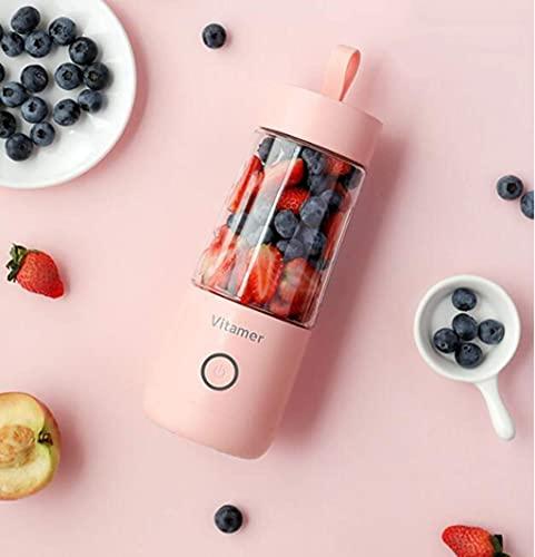 LLKK Vaso de agua Exprimidor eléctrico Licuadora personal 350Ml portátil Mini licuadora eléctrica Exprimidor USB Licuadora recargable para el hogar Oficina Deportes al aire libre (rosa)