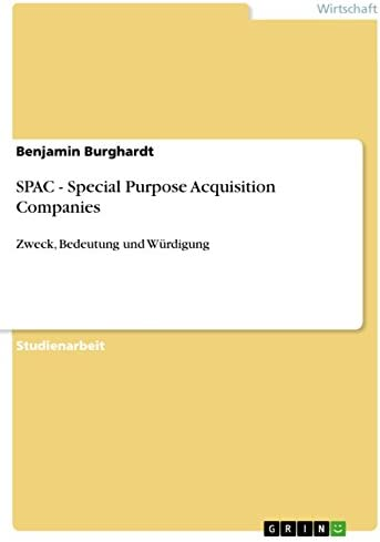 SPAC Special Purpose Acquisition Companies Zweck Bedeutung und W rdigung German Edition product image