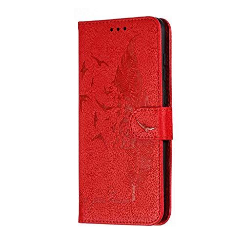 Bear Village® Hülle Kompatibel mit Huawei Y7 2019, Leder Brieftasche mit Standfunktion und Kartenfach, Magnetisch Klapp Schutzhülle, Rot