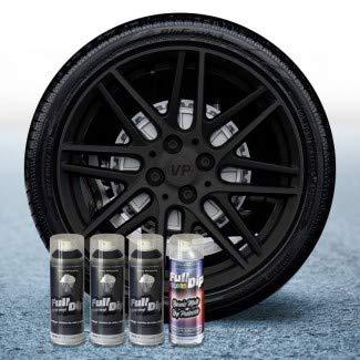 AutoFullCar Pack Llantas 3 Sprays Full Dip Negro con Proteccion Mate