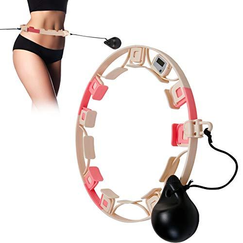 Inteligente Fitness Hula Hoop, Conteo Automático Bola de Peso Ajustable, 9 Partes Desmontables, Masaje Giratorio de 360  Ligero, Apto para Deportes al Aire Libre para Adultos y Niños (Rosa/Blanco)