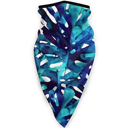 MJDIY Face Shield,Mon-Stera Blue Leaves Auf Weißer 16-In-1-Kopfbedeckung, Neuartige 16-In-1-Kopfbedeckungen Für Das Laufen Im Freien