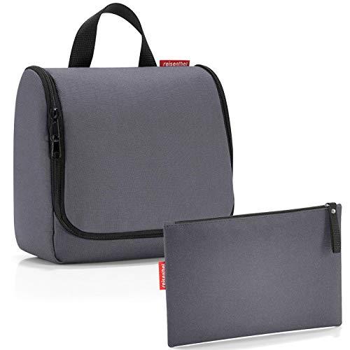 reisenthel Exklusiv-Set: toiletbag 23x20x10cm Kulturtasche zum aufhängen aufklappbar + GRATIS ZUGABE case 1 (Graphite grau)