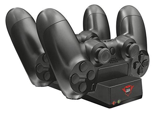 Trust Gaming GXT 235 Dubbel Oplaaddock voor PS4 Controllers (Duo Charging Dock USB, Laadindicator) Zwart