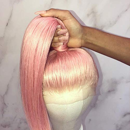 Brazillian Virgin Human Hair Wigs Pink Color Lace Front Wigs 130% Density Pre-Plucked Hairline Skily Straight with Baby Hair for Women (22 inch, lace front wig)