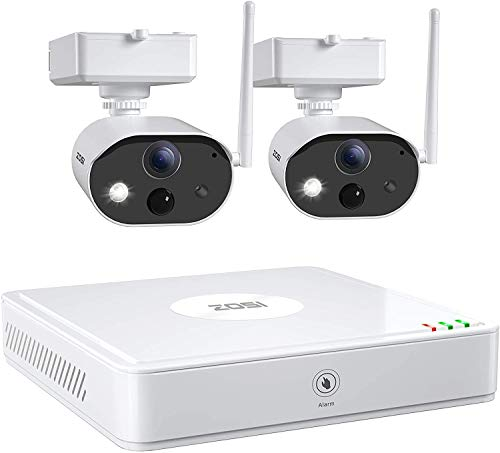 ZOSI 1080P Kit de Cámaras de Vigilancia WiFi 4CH Grabador NVR con 2 Cámaras de Seguridad Exterior con Batería Recargable, Detección de Movimiento PIR, Visión Nocturna, 32GB Tarjeta de Memoria