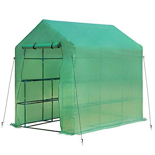 Outsunny Gewächshaus Treibhaus mit Blumenregal Frühbeet Tomatenhaus Pflanzenhaus für Garten, aus Stahlrohl und PE-Gewebe, Grün, 214L x 143B x 195H cm
