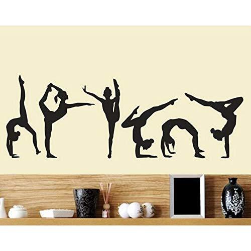 Gimnasia artística deporte baile acción estudio sala de entrenamiento vinilo calcomanía artística chicas Yoga gimnasio dormitorio decoración del hogar pegatina de pared póster Mural