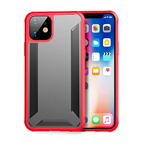 ErYao for iPhone 11 6.1' Soft TPU Shock Absorption Protective Scratch-Resistant Screen Protection Case for iPhone 11 6.1', Aseismic Corner, Reinforcement Edge (Red)
