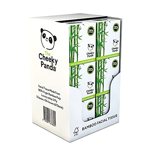 The Cheeky Panda - Bamboo Facial Tissues Cube Boxes, Soft Bamboo Paper for the Face, Naturally Sustainable Bulk Facial Tissue, 56 Count x Pack of 12