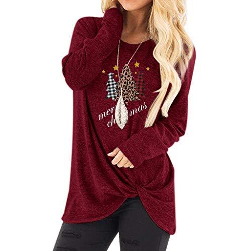 ZEELIY Noël T-Shirt Femme Manches Longues, Tops Blouse Noué à Motif Père Noël Pull en Vrac Chic Impression de Renne Chemisier Tops Noël Cadeaux