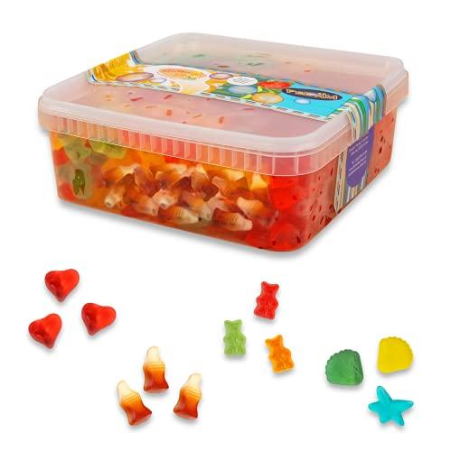 Deine Naschbox Zuckerfreie Fruchtgummi Süßigkeiten-Box - Weingummi Großpackung mit 4 Sorten - Bärchen, Herzen, Cola-Fläschchen, Meeresfrüchte - 1 kg
