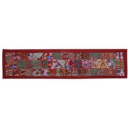 The Art Box Tapiz Bordado Indio para Caminos de Mesa, Mantel Rectangular de retales, decoración Hippie de algodón...
