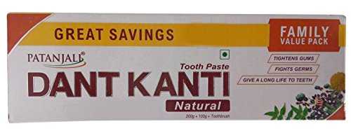 Patanjali Dant Kanti Toothpaste - Natural (With 1N Toothbrush), 300g Combo Pack