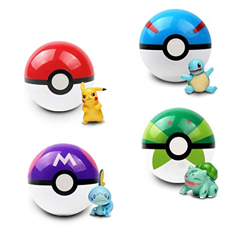 4Pcs Collectible Pokeball Gashapon with Pokemon Figures | Pokemon Character | Japanese Vending Machine-Dispensed Capsule Toys | Random Included Such as Bulbasaur, Charmander, Squirtle, Pikachu