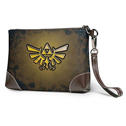 Game Legend Of Zelda - Bolso de mano de cuero para tarjetas de teléfono con cremallera de cuero suave para las mujeres y los hombres con ranuras de cuero de vaca real embragues