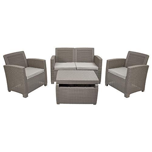 ガーデンソファセット イノバ ジャージー4点セット JERSEY lounge set ラタン調 ガーデンテーブル ガーデンチェア
