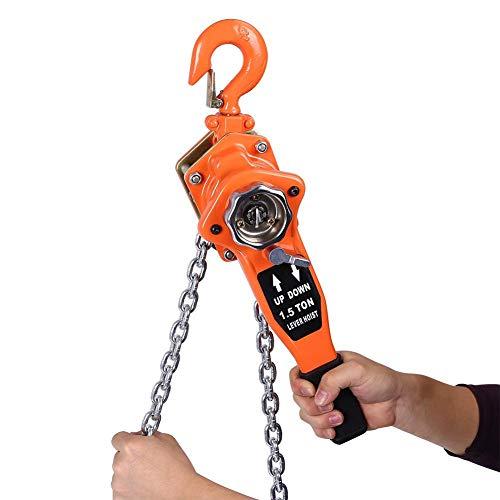 Polipasto de cadena de 1,5 T con trinquete, polipasto de palanca con doble cadena, polipasto de cadena manual polipasto de cuerda polipasto de grúa 3 m de altura de elevación, para uso en talleres
