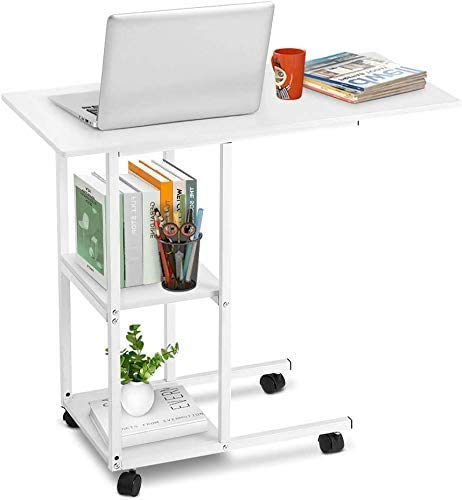 Overbed Table, Movable Side Table Rolling Laptop Desk Bedside SnackTable Portable Computer Desk Bed Couch Sofa Side Table Coffee Breakfast Table Double Shelves with Wheels for Home Office
