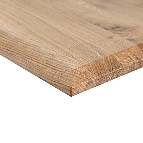 boho office® Massivholz,Tischplatte Schreibtischplatte 180 x 80 x 2.5 cm in Eiche Massiv mit durchgehenden Lamellen