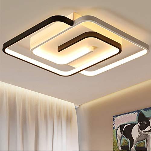 Plafón LED Regulables para Dormitorio, Accesorio de Iluminación Remoto Cuadrado Creativo Moderno, lámparas de Araña de Techo de Acrílico de Metal Lámpara de Decoración...