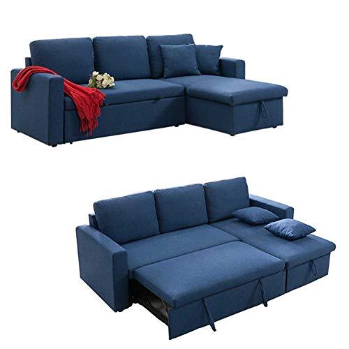 RJMOLU Sofá Cama, 3 en 1 sofá de Terciopelo Compacto con Cama de extracción y Espacio de Almacenamiento Grande, Cama Moderna Soft Loveseat para Sala de Estar o Dormitorio,Azul