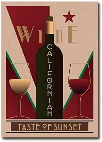 Cartel vintage de vino californiano Bar Arte de la pared Decoración Imagen Vino Carteles de pared Restaurante Cocina Decoración del hogar Lienzo Pintura 40x60cm Sin marco