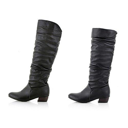 BHYDRY Schuhe Damen Winter Klassisch Elegant Overknees Langschaft Stiefel Hohe Stiefel R?Hre Flache Niedrige Ferse Reitstiefel(37.5 EU,Schwarz)