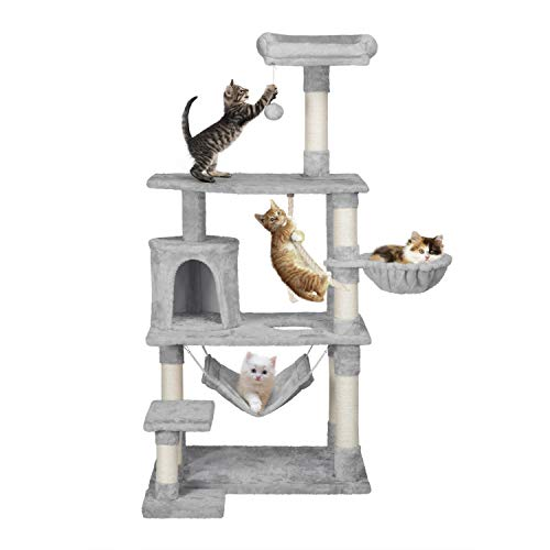 Yaheetech 156 cm Extra Large Cat Tree Condo with Sisal-Covered Scratching Post Plush Perch Hammock, Cat Tower Activity Center Kitten Furniture Play House