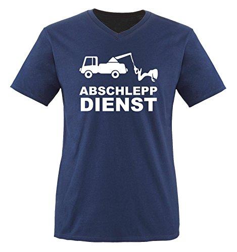 ABSCHLEPP Dienst - LKW - Herren V-Neck T-Shirt - Navy/Weiss Gr. XL