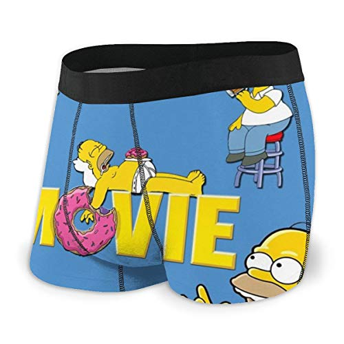 Yellowbiubiubiu Simpsons Cartoon Anime Herren Unterwäsche Stretch Boxershorts für Männer Kurze Bein Unterhose Atmungsaktiv Bequeme Faser Pack Gr. XXL, Schwarz