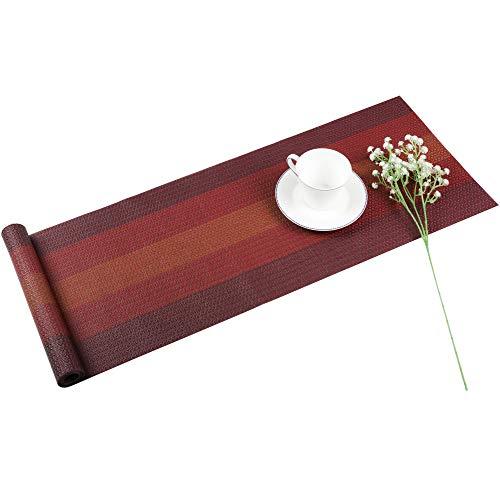 Famibay PVC Tischläufer Abwaschbar Tischläufer Plastik Rot Tischdecken Läufer für Tisch 180cm