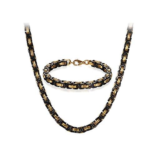 JewelryWe Schmuck Edelstahl Ketten Set von Halsketten und Armketten für Herren schwarz Gold Armbändern 8mm breit und 21,5 cm für Armband, 26 Zoll für Halskette