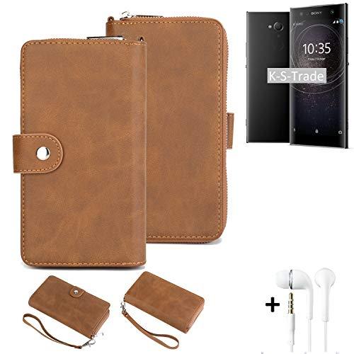 K-S-Trade 2in1 Handyhülle Kompatibel Mit Sony Xperia XA2 Ultra Dual-SIM + Kopfhörer Schutzhülle und Portemonnee Schutzhülle Tasche Handytasche Hülle Etui Geldbörse Wallet Bookstyle Hülle Braun (1x)