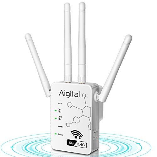Aigital 1200Mbps Ripetitore WiFi,Wireless Wifi Extender e Access Point,Segnale Booster Dual band(5GHz/2.4GHz)Potenzia la tua copertura Wi-Fi, Compatibile con tutti i modem router wifi, Nero
