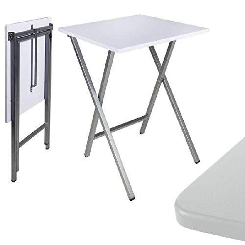 Dcasa - Mesa cuadrado plegable blanca 48x48x65 cm