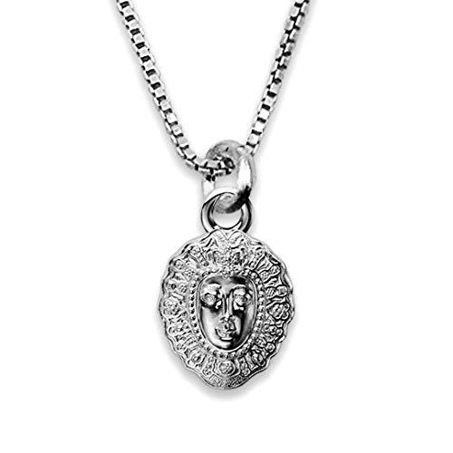 Medalla Religiosa - Medalla Mini Rostrillo Virgen del Rocío 6x8 mm con Cadena Veneciana 40 cm. Plata de Ley 925 milésimas.