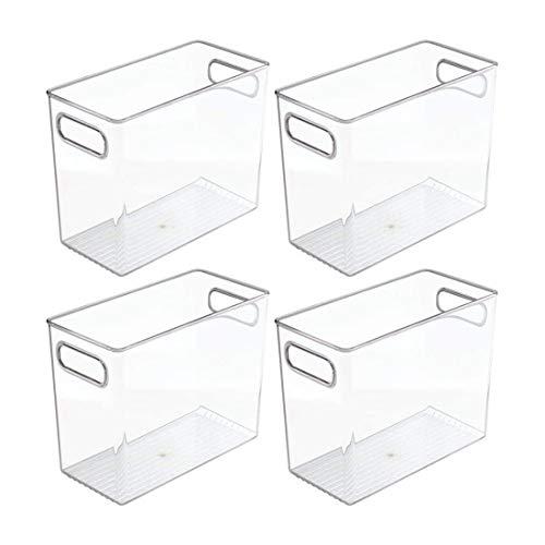 Cobeky Paquete de 4 gabinetes altos de plástico para la despensa, refrigerador o congelador, contenedores de almacenamiento de alimentos con asas – Organizador para frutas