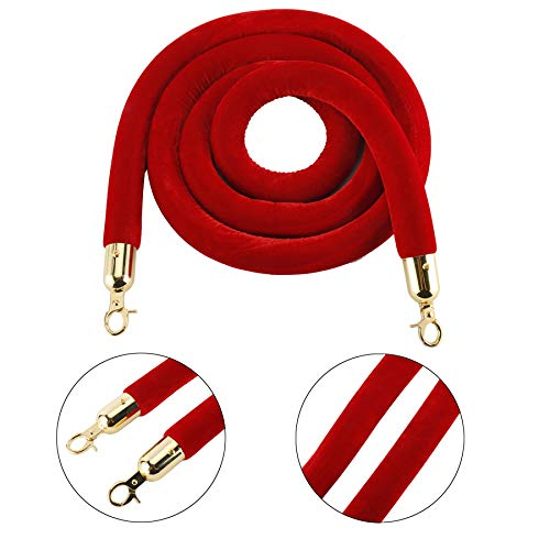 AuInn 8 Feet Velvet Stanchion Rope, Stanchion Queue Barrier Rope Velvet Rope, Crowd Control Rope Barrier, with Mirror Polished Hooks (Red)