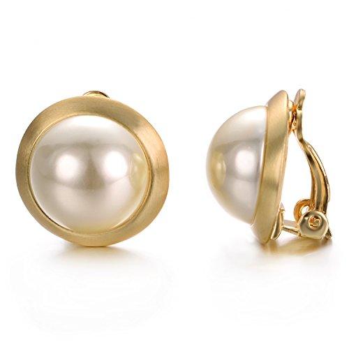 Yoursfs clip-on orecchini Avorio non perle orecchini rotondi nessun Clip su orecchini trafitto per regalo di Natale