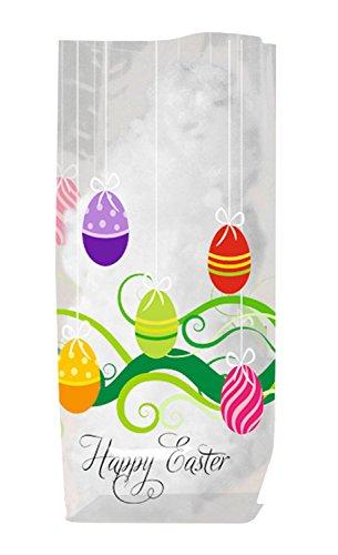 Ursus 5260000 - Geschenk Bodenbeutel, Frohe Ostern, 10 Stück, aus lebensmittelechter Folie, ca. 14,5 x 23,5 cm, transparent, bedruckt, ideal für kleine Überraschungen
