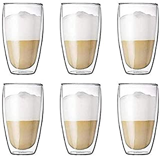 6 Pieces Double Wall Glasses Coffee Cup,Large 350ML